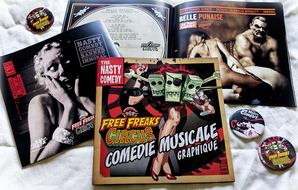 Freefreaks circus nasty comedy Comedie musicale graphique rock'n'roll serie B serie Z vinyl disque alain fretet xavier de brettes musique parole